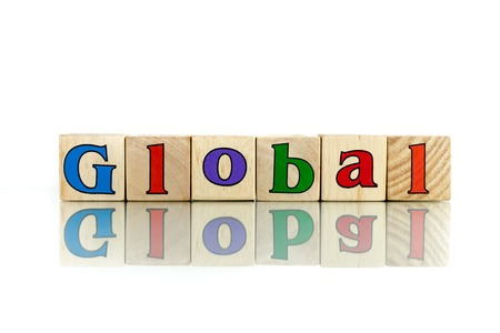 encyclopedic: global  colorful wooden word block on the white background
