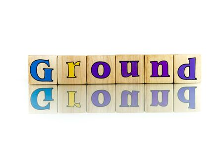 firma: ground colorful wooden word block on the white background