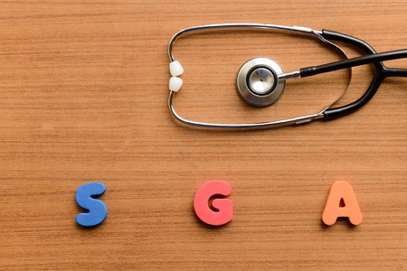 gestational: Small for gestational age (SGA)  colorful word on the wooden background Stock Photo
