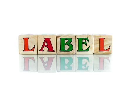 hallmark: label colorful wooden word block on the white background