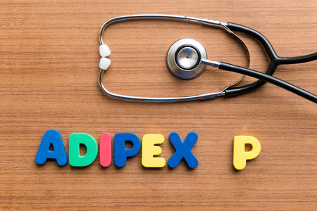 hydrochloride: Adipex-P colorful word on the wooden background Stock Photo