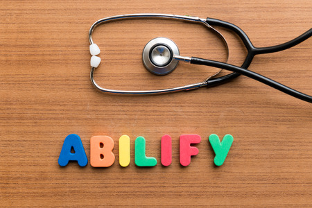 Abilify colorful word on the wooden background