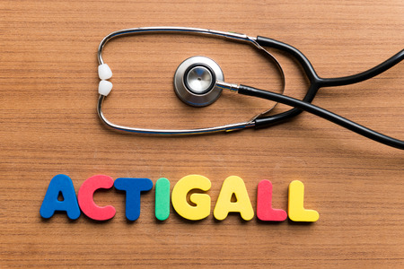 usp: Actigall colorful word on the wooden background