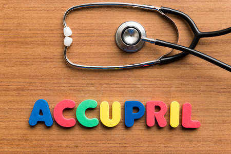 hydrochloride: Accupril colorful word on the wooden background Stock Photo