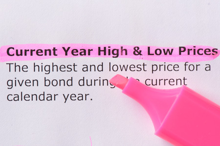 low prices: Current Year High & Low Prices   words highlighted on the white background