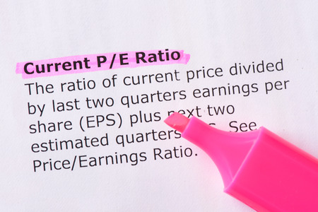 ratio: Current PE Ratio   words highlighted on the white background