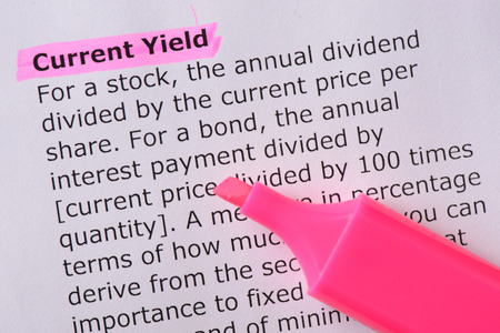 yield: Current Yield   words highlighted on the white background