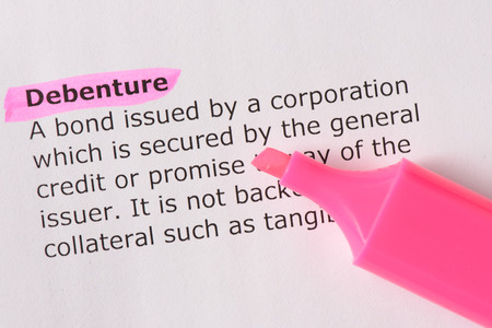 tangible asset: Debenture   words highlighted on the white background Stock Photo
