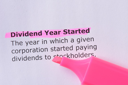 dispensation: Dividend Year Started   words highlighted on the white background