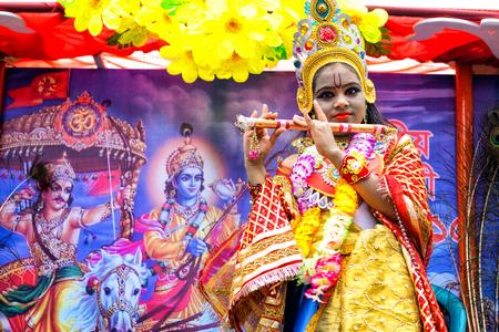 dhaka: Dhaka, Bangladesh - September 04, 2015: A child dressed as Lord Krishna on the occasion of Janmashtami in Dhakeshwari Mandir, Dhaka, Bangladesh