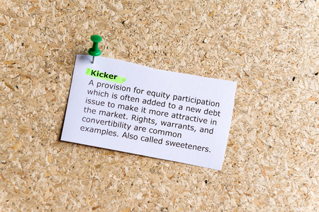 kicker: kicker word typed on a paper and pinned to a cork notice board Stock Photo