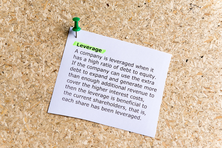 apalancamiento: leverage word typed on a paper and pinned to a cork notice board