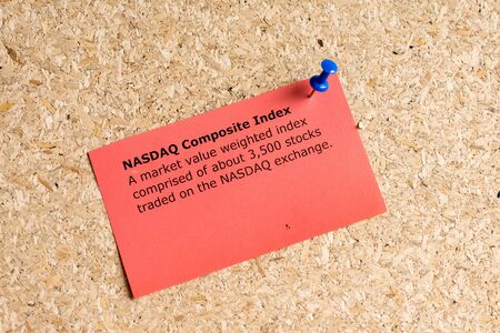 nasdaq: nasdaq composite index word typed on a paper and pinned to a cork notice board Stock Photo