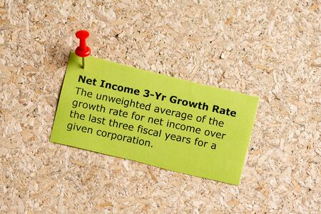 net income: net income 3 year growth rate word typed on a paper and pinned to a cork notice board