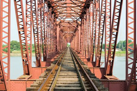 padma: Paksey, Bangladesh - September 28, 2015: Hardinge Bridge is a steel railway bridge over the river Padma located at Paksey in western Bangladesh. It is named after Lord Hardinge, who was the Viceroy of India from 1910 to 1916. The bridge is 1.8 kilometres  Editorial