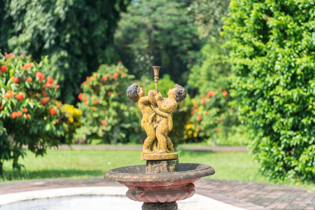 Natore, Bangladesh - September 29, 2015: statue of Uttara Gano Bhaban. It also known as The Maharaja's Palace or Dighapatia Palace is a historic, formerly royal palace in Natore, Bangladesh. It was built by the Raja of Dighapatia. In the north bengal, it