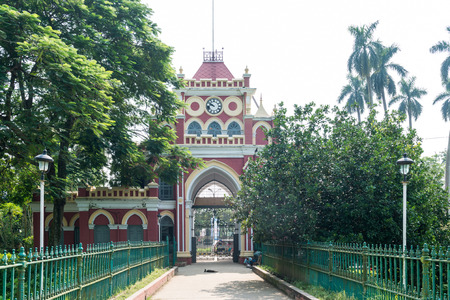 Natore, Bangladesh - September 29, 2015: Uttara Gano Bhaban also known as The Maharaja's Palace or Dighapatia Palace is a historic, formerly royal palace in Natore, Bangladesh. It was built by the Raja of Dighapatia. In the north bengal, it serves as an o