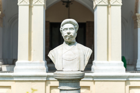 Natore, Bangladesh - September 29, 2015: Bust of the Maharaja of Uttara Gano Bhaban. It also known as The Maharaja's Palace or Dighapatia Palace is a historic, formerly royal palace in Natore, Bangladesh. It was built by the Raja of Dighapatia. In the nor