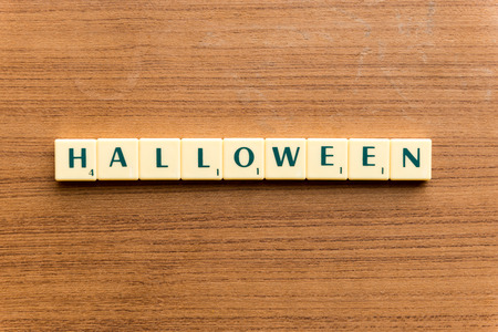 stealth: halloween  word block on the wooden background Stock Photo