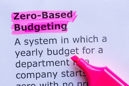 zero based budgeting  word highlighted on the white background