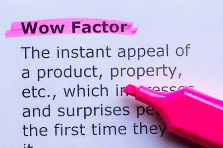 wow factor  word highlighted on the white background Standard-Bild