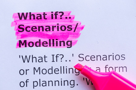 what if,scenario,modelling  word highlighted on the white background