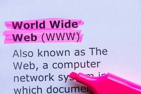 information superhighway: world wide web  word highlighted on the white background