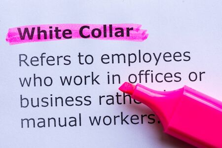white collar: white collar  word highlighted on the white background Stock Photo