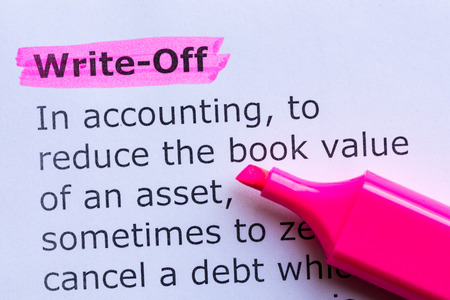 write off: write off  word highlighted on the white background