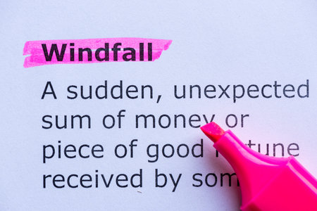 windfall  word highlighted on the white background