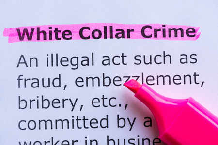 white collar crime: white collar crime  word highlighted on the white background