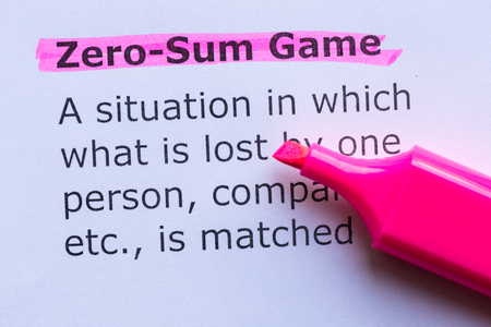 zero sum game  word highlighted on the white background