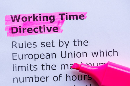 bout: working time directive  word highlighted on the white background