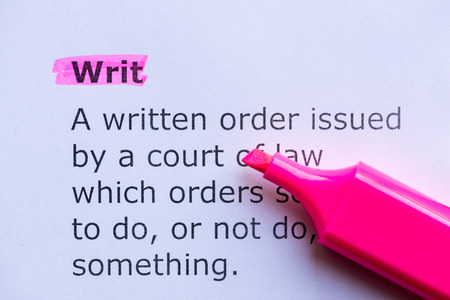 writ: writ  word highlighted on the white background Foto de archivo