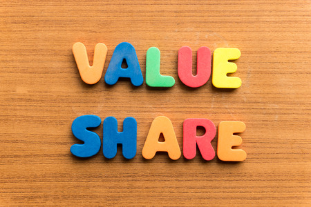 whack: value share  colorful word on the wooden background