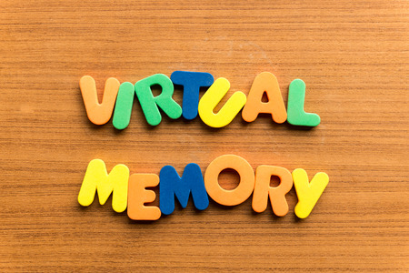 subconsciousness: vitual memory  colorful word on the wooden background Stock Photo
