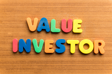 stockholder: value investor  colorful word on the wooden background Stock Photo