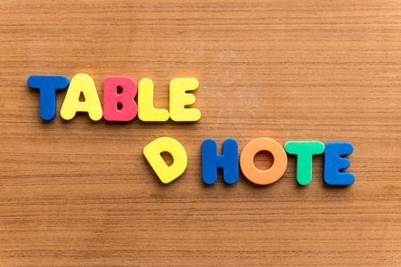 carte: table dhote  colorful word on the wooden background