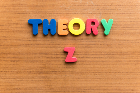 theory: theory z  colorful word on the wooden background