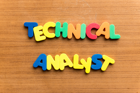 technical analyst  colorful word on the wooden background
