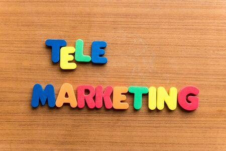 retailing: tele marketing  colorful word on the wooden background Stock Photo