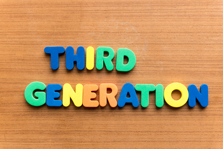 multiplying: third generation colorful word on the wooden background