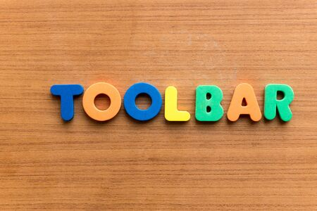 toolbar: Toolbar colorful word on the wooden background