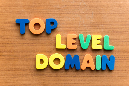 jurisdiction: top level domain colorful word on the wooden background