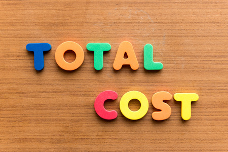 dues: total cost colorful word on the wooden background