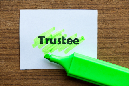 custodian: trustee word highlighted on the white paper Stock Photo