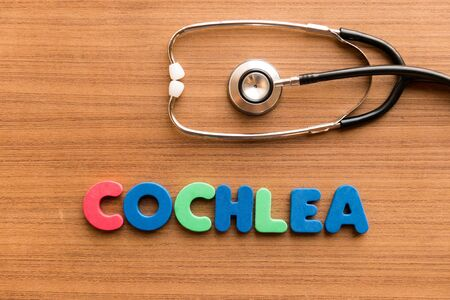 cochlea: cochlea colorful word on the wooden background with stethoscope Stock Photo