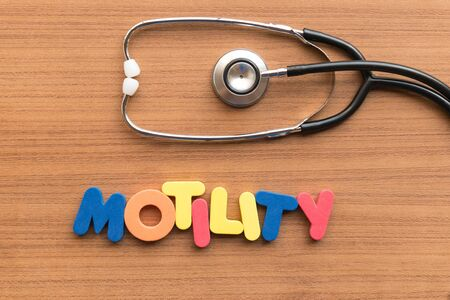 motility: motility colorful word on the wooden background