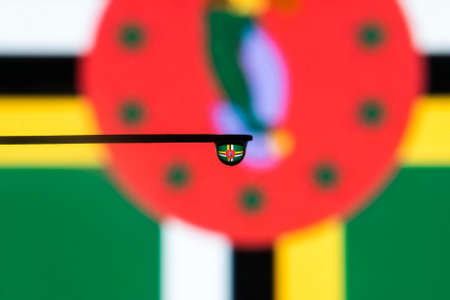 dominica: dominica colorful country flag in macro view