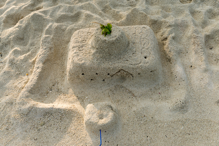 generic location: Stone composition on the beach of male, maldives